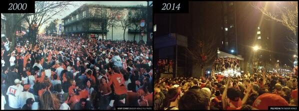 Then and now. State Street after the last two times the #Badgers have made it into the #FinalFour. http://t.co/gdCjsKWkgo