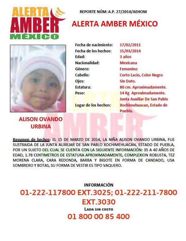 Por favor, comparte esta información y ayúdanos a difundirla. Activación de #AlertaAmber por ALISON OVANDO URBINA. http://t.co/Zv2WdPNPLp