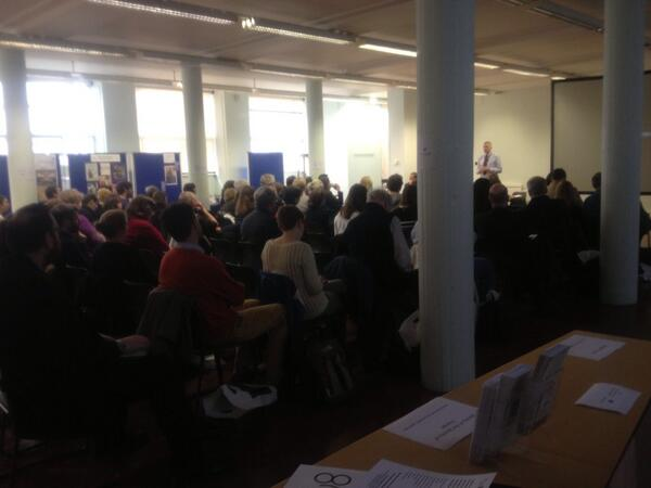 Full house @ihr_history research open day #histday14. This is the view from @wienerlibrary's stand! http://t.co/BZW4m8cdBR