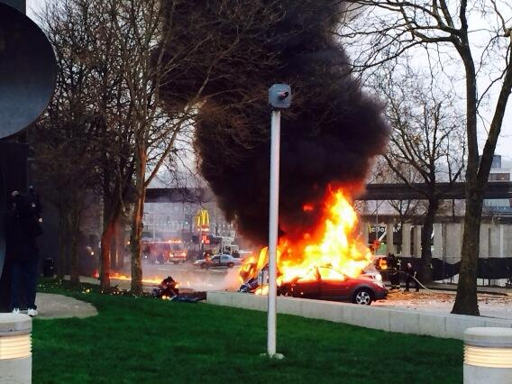 We heard the helicopter crash right outside our newsroom.  At least 2 cars involved @komonews http://t.co/06XFi4ArCy