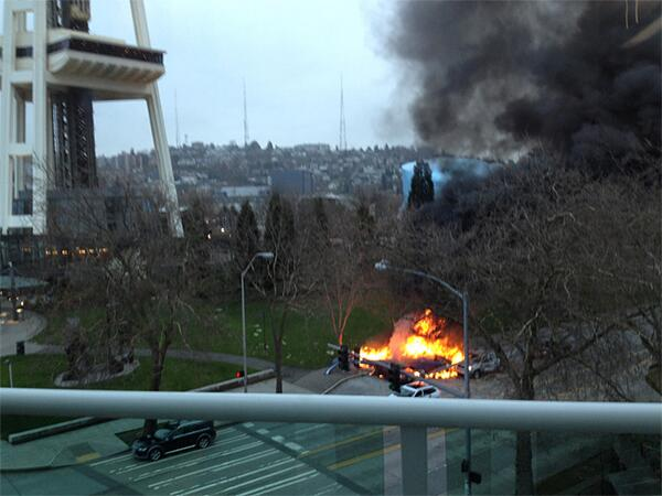 One more photo showing how close helicopter crash was to Space Needle. More here: http://t.co/4fVmXWIfWG http://t.co/7RLlII74up