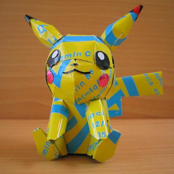 Recycled Art - Tin Can Sculptures pokemon pikachu