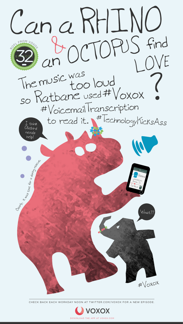 #ROFL - The music was too loud so Ratbane used #Voxox #VoicemailTranscription to read it. #TechnologyKicksAss http://t.co/YpimNrfFfe