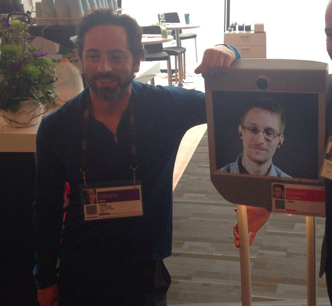 Just A Google Co-Founder Chillin' With Robo-Snowden