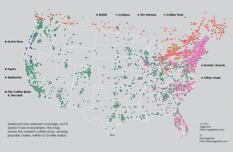 This Map Shows Which Coffee Chains Dominate America and Canada