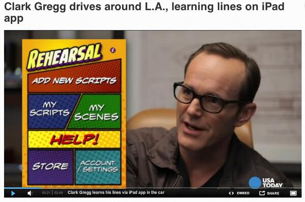 Pick up Wed's @USATODAY (3/19) read how @clarkgregg uses @RehearsalTheApp to nail his scenes in @AgentsofSHIELD http://t.co/4KHDsLakvH