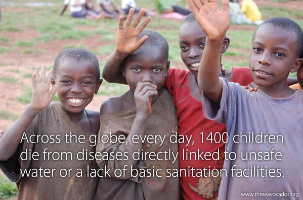 Every day 1400 children die from diseases directly linked to unsafe water or lack of basic sanitation. http://t.co/aVkw5tCqJw