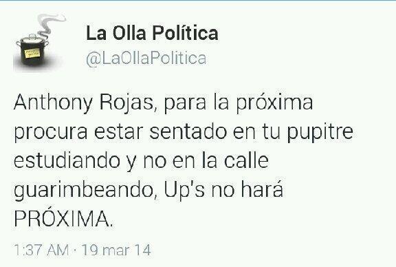 @ADRIANAAZZIAS PIDE BLOCK Y SPAM A @LaOllaPolitica MIRA COMO HUMILLA AL ESTUDIANTE FALLECIDO ANTHONY ROJAS DALE RT http://t.co/pMf0EfccbC
