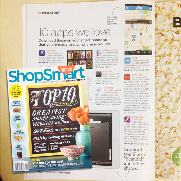 "We are featured in @ShopSmartmag (by @ConsumerReports) as one of the ""10 Apps We Love"" story! Very cool! http://t.co/7ZvVcGboHA"