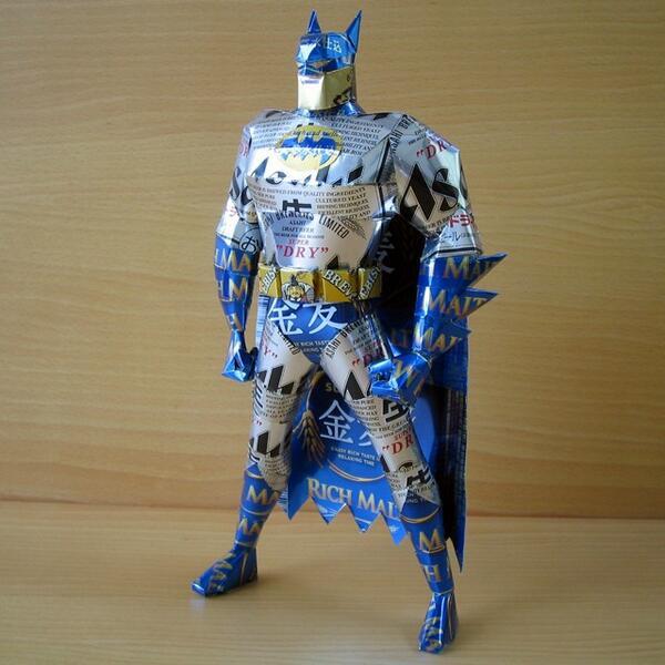 Recycled Art - Tin Can Sculptures batman