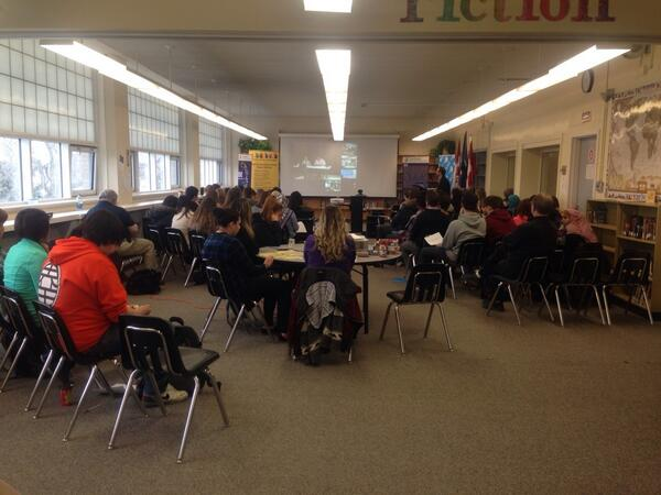 Students at QE listening to stories or residential school survivors #abyouthvoice http://t.co/FxEaX3qv7S