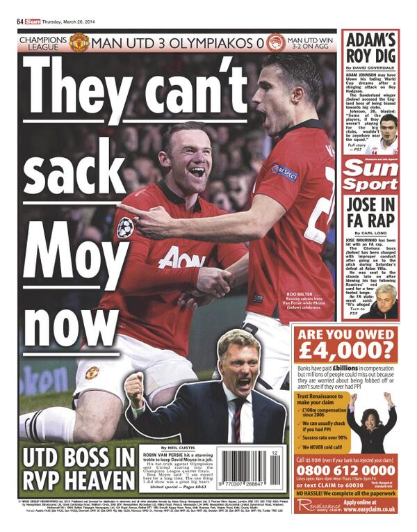 Saviour Robin van Persie keeps David Moyes his Man United job, for now [Thursdays Paper Pictures]