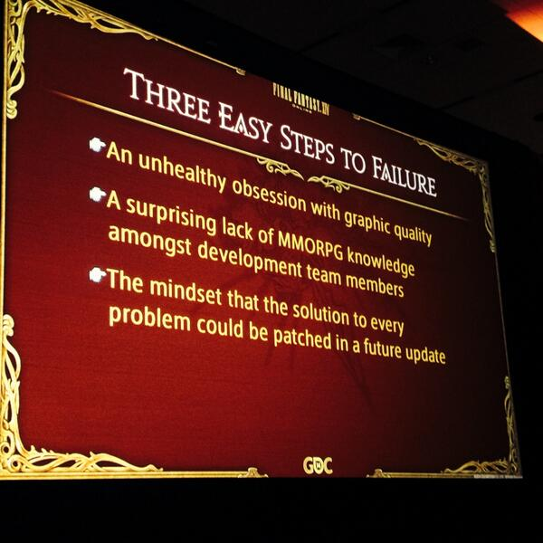 Well, there you have it: Why the original FF14 failed, from producer Naoki Yoshida #GDC2014 http://t.co/I7eUSIkRE9