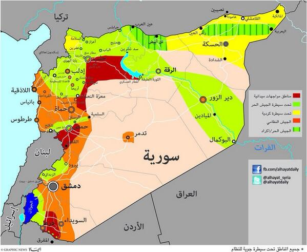 syria the map of who and who control what from al hayat yalla souriya