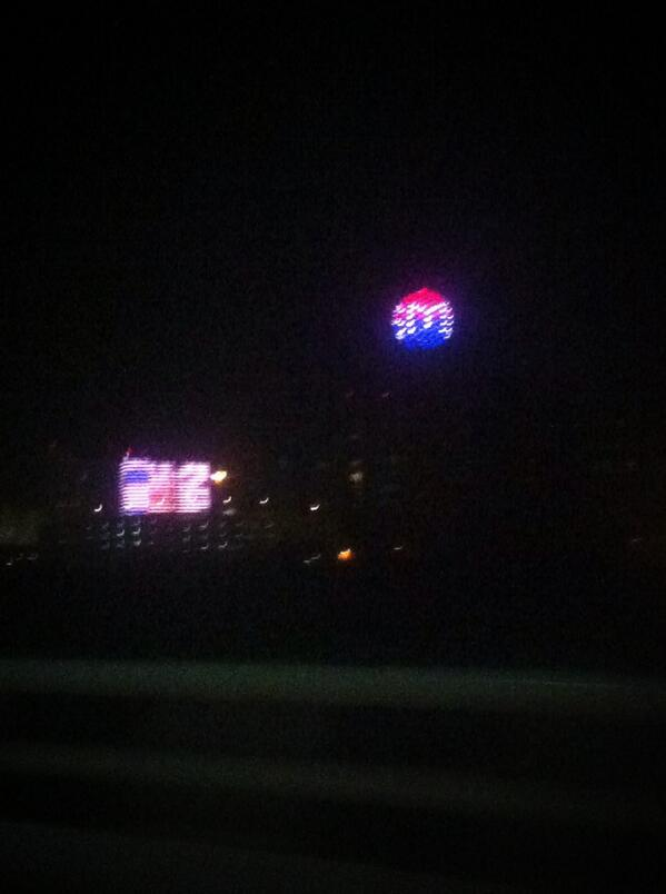 #ReunionTower lit up after @SMUBasketball big NIT win. #SMUSPIRIT http://t.co/hmE8tXmEfC