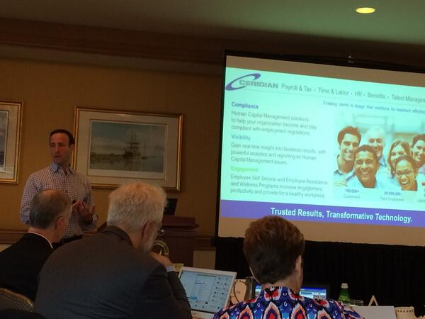 @dossip kicking off the @ceridian analyst day #cenaday14 @holgermu and @InFullBloomUS in the background http://t.co/L73Ecu2Yy8