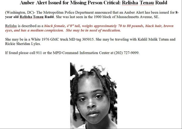 Amber Alert Issued for Missing Person Critical: Relisha Tenau Rudd **ATTACHED** http://t.co/tHjekKDUJM
