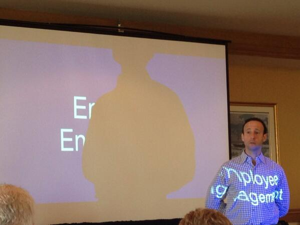 @dossip CEO of @ceridian showing or wearing his passion on employee engagement :) #CENaday14 http://t.co/qFy9WvZLmI