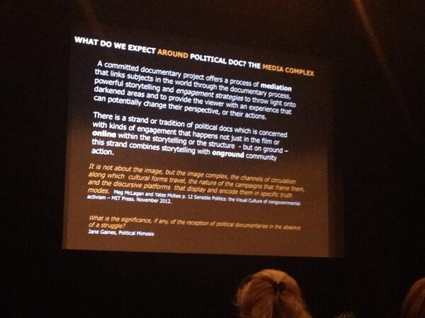 Liz Miller talks about what to expect around political documentaries #idocs2014 http://t.co/tKen5S70oY