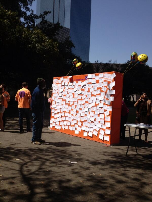 #houston #happyacts filled up the front...now working in the back for happiness wall! http://t.co/v8KbtfijzK