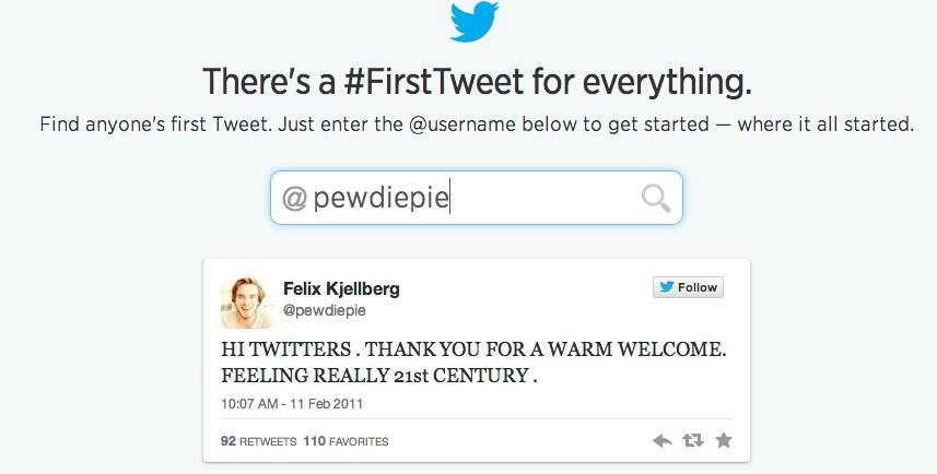 """PewDiePie Twitter: Zamara On Twitter: """"PewDiePie's First Tweet! Haha XD Http"""
