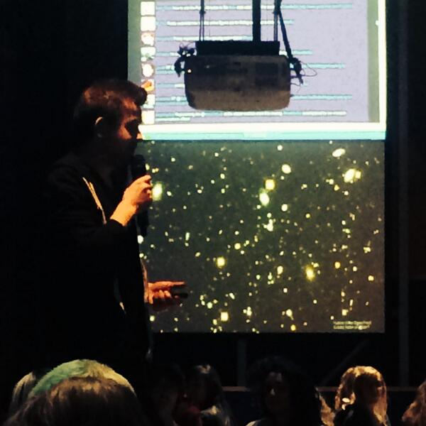 .@mrniaboc telling #tweetforsci the creation story of @the_zooniverse with Hubble Deep Field in the background http://t.co/RCfdarbpam