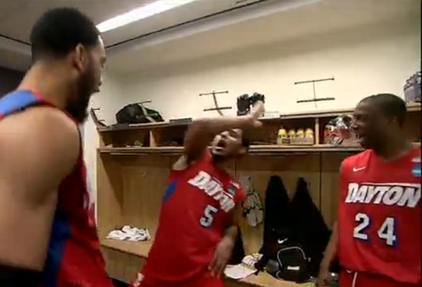 VIDEO: Dayton dances in the locker room after upsetting Ohio State http://t.co/rmzmCpbTum #MarchMadness http://t.co/FsbkGNxGdx