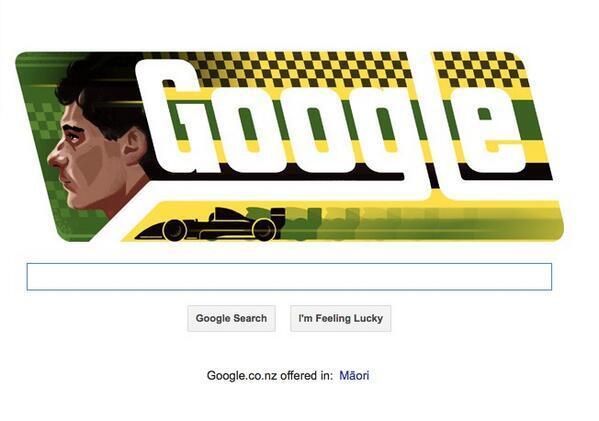 Ayrton Senna cumpliría mañana 54 años y @google ha dedicado este #Doodle en su honor. #InolvidableAyrton #Senna http://t.co/qH1mTd1LL2
