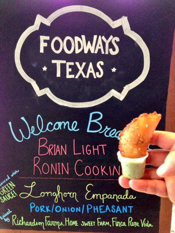 These empanadas have longhorn beef in them. What Aggies eat for breakfast here @foodwaysTX #TXfood14 symposium http://t.co/ITHwkXfinh