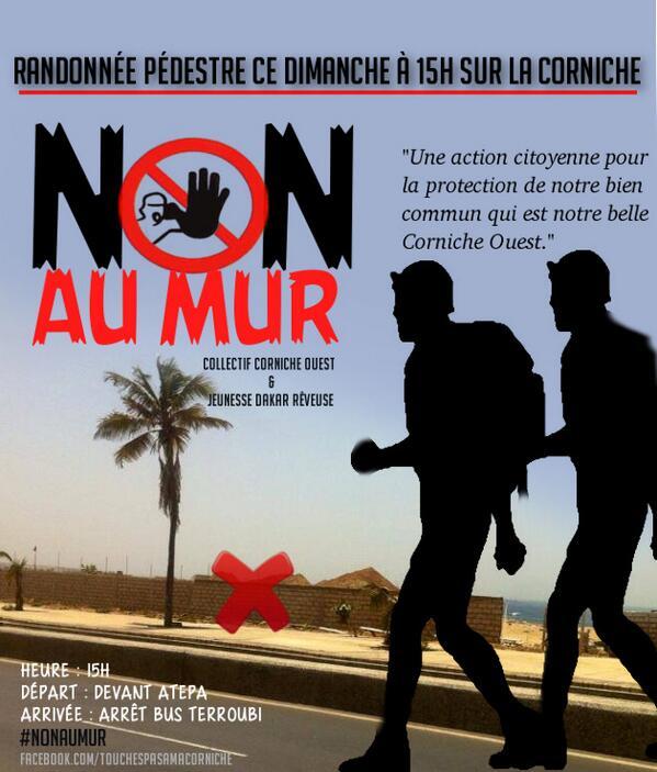 Une action citoyenne pour la protection de notre bien commun qui est notre belle Corniche Ouest. #NonAuMur #kebetu http://t.co/RMCMuCYl1W