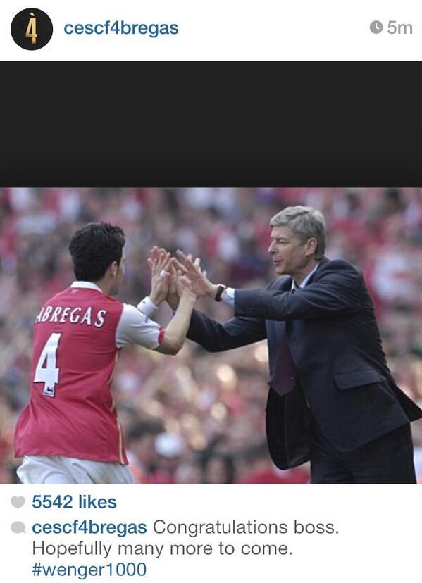 Barcelonas Cesc Fabregas congratulates Arsenal boss Arsene Wenger on Instagram [Picture]