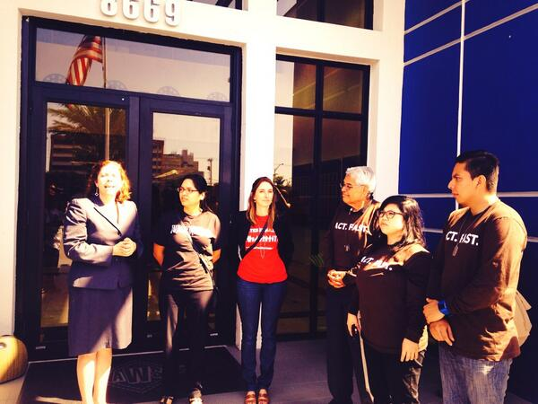 .@fast4families trying to meet with @MarioDB to deliver a letter calling for #immigrationreform http://t.co/3a9NfAM0WW