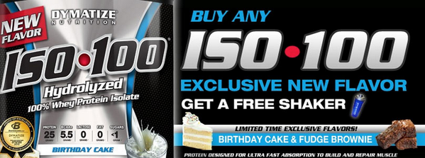 Dymatize ISO 100 BirthdayCake FudgeBrownie Buy 1 Get A Shaker FrEE Bbcomme PYnYv8 Pictwitter Uyv2hSGs3g