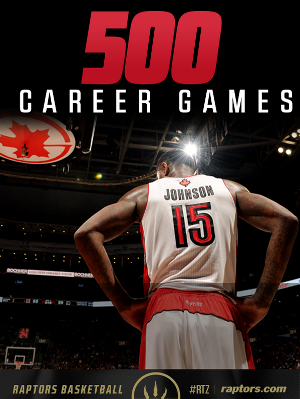 Congrats to @IamAmirJohnson! The 26-year-old plays in his 500th NBA game tonight! #Raptors #RTZ #Toronto http://t.co/6jCdZjjDLH