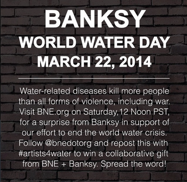 #Banksy + @BNE for #WorldWaterDay 22nd March  #art #streetart #artists4water @charitywater — http://t.co/dfbCXj0l0w http://t.co/XkP5WbZZGS