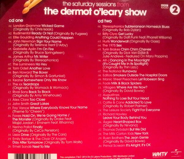 HQ: Hey you its a Dermot Saturday Sessions album giveaway. Just re-tweet this and we'll pick 5 re-tweeters on Monday. http://t.co/7hejK4qCya