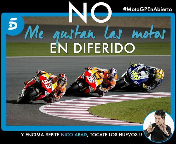 ¿ Hay que ver las motos en Diferido ? Va a ser que no... #MotoGPEnAbierto #MotoGP http://t.co/Eo2i4EAXPS