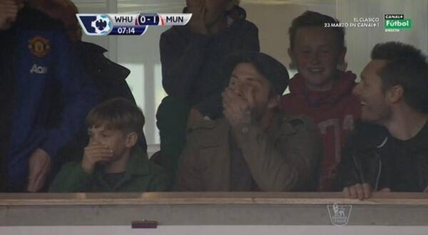 David & Romeo Beckham reaction to Wayne Rooneys wonder goal at West Ham [Pictures]