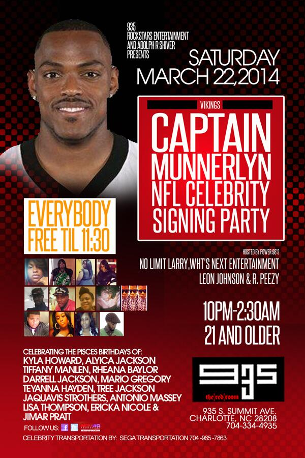 TONIGHT Vikings @Captain_41 NFL Celebrity Signing Party l @club935 FREE TIL 11:30 l  Hosted by @Noleezy !!! http://t.co/m8pfOmAlsn