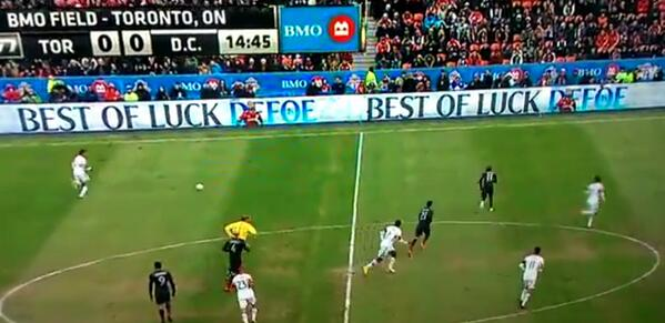 Sweet! Spurs buy advertising hoardings wishing Jermain Defoe luck in his Toronto FC home debut [Picture & video]