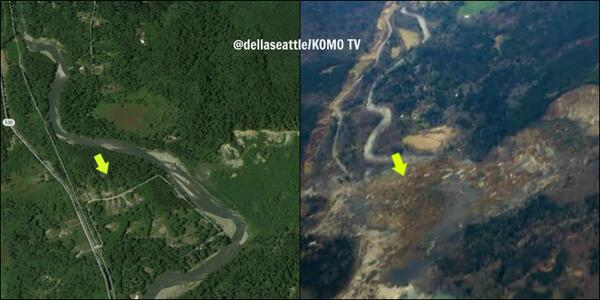 PHOTO: Before and after #530slide. Homes, lives are obliterated. #Snohomish #Oso #Arlington http://t.co/PolkSQTzCo