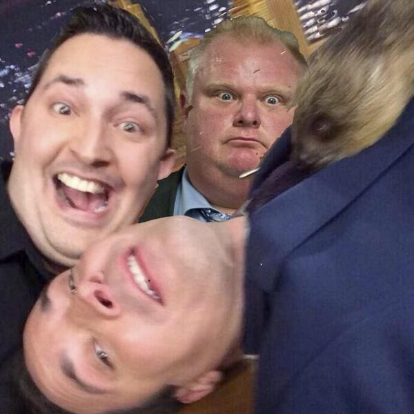 Our selfie with the sloth and @jimmyfallon and I and we had to retake cause Ford photo bombed us @   @FallonTonight http://t.co/XUK0XEXUKz