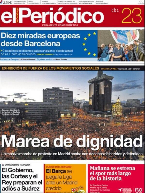 Y hay portadas y portadas... Esta de @elperiodico merece la pena ser tuiteada... http://t.co/RTVug30uhu