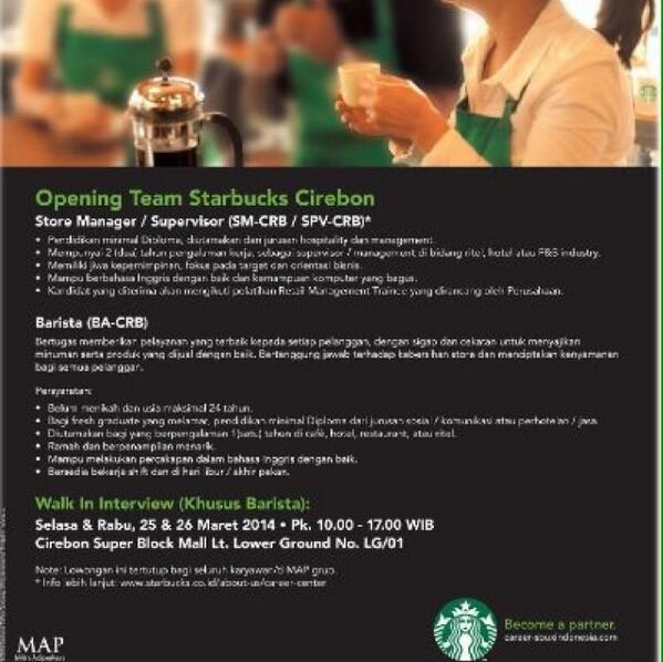 Csb Mall On Twitter Lowongan Pekerjaan Di Starbucks Cirebon Silahkan Melihat Kualifikasi Di Foto Ini Cirebonbribin Http T Co Eqzyomtg8q