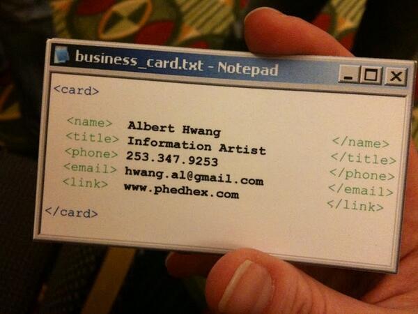 Coolest. Business card. Ever! #techiesrule http://t.co/jIIr5YBAmU