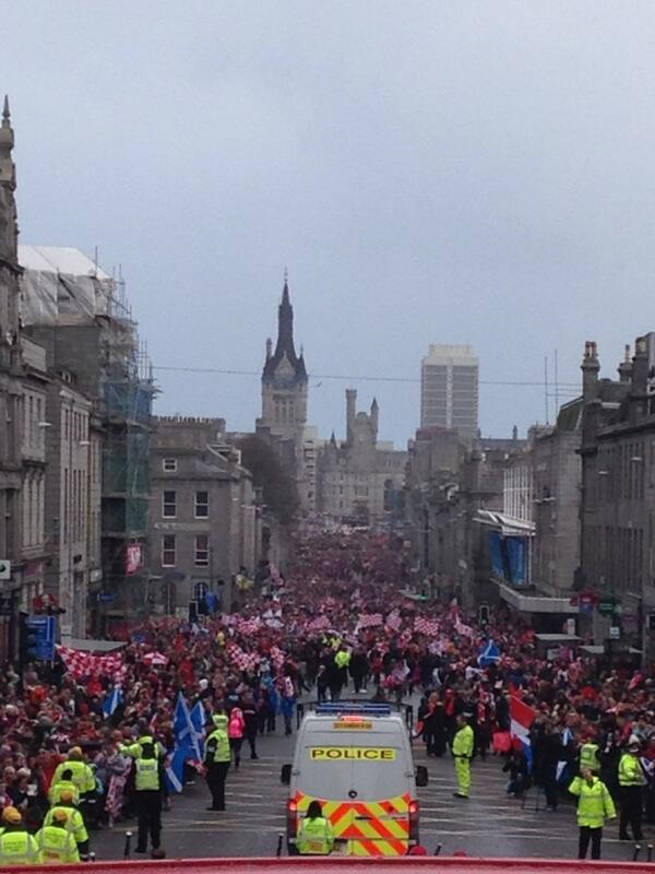 Photo from the bus... That's an incredible turn out from the fans... Thank you all for coming along