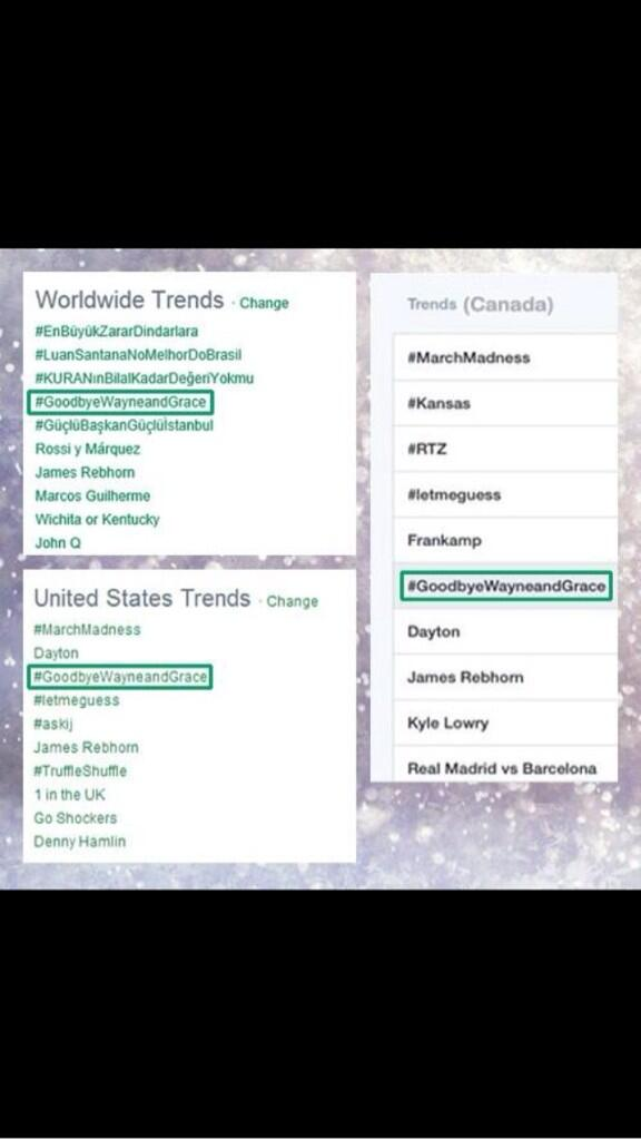 Awesome! Simply awesome! I applaud every one of my wonderful tweeps who helped trend #GoodbyeWayneandGrace http://t.co/pxSN5caeqx