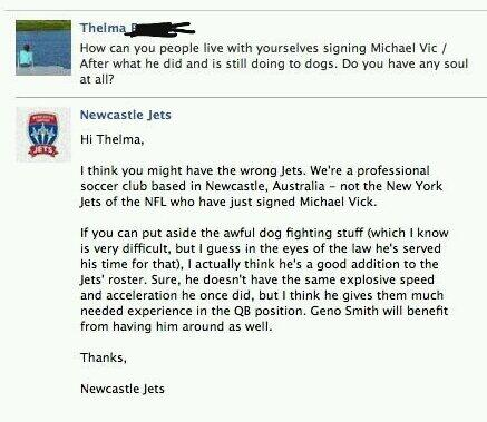 Pic: Lady attacks the wrong Jets over Vick signing