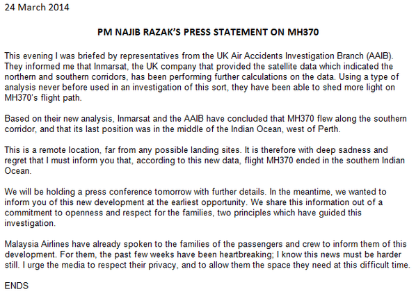 Complete statement from Malaysian PM Najib Razak on the conclusion #MH370 has been lost. http://t.co/QAfAmsMfW2 http://t.co/cnsjLdwkdH
