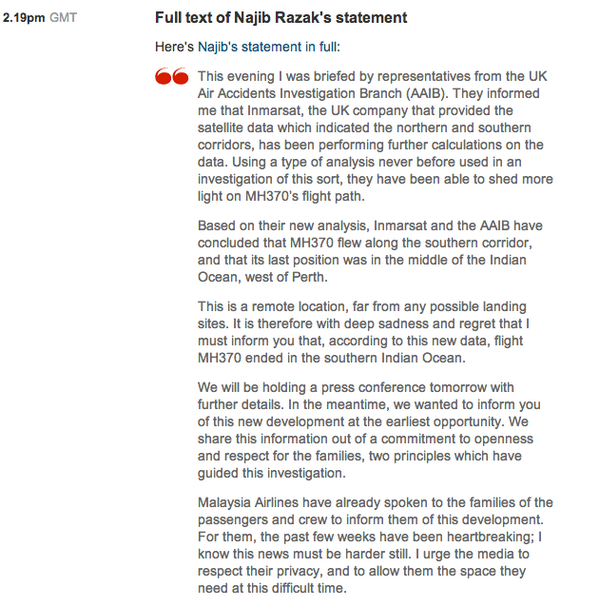 Full text of Najib Razak's statement on #MH370.  http://t.co/sVuBQoT1OK http://t.co/66ZDi0Q3GG